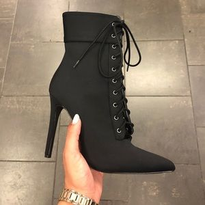 NWT - Black Pointy Ankle Comfy  Bootie Heels